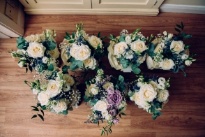Bridesmaids and Bride's bouquets ready for the big day.
