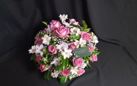 Posy pad using Pink Roses, lilac freesias and Gypsophila