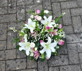 Posy pad using while Lily, Lily of the Valley and Pink Roses