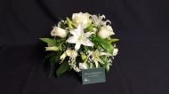 White Sympathy Posy pad. Lily, Rose and Gypsophila