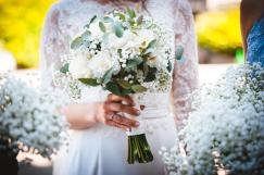 White rose, carnation and Eucalyptus bouquet, Photo taken by Dean Elliott photography