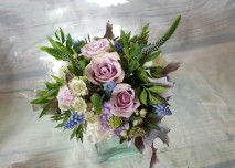 Hand tied bouquet in pinks and blues